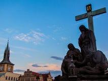 Lamentation of Christ, Charles Bridge, Prague, Czech Republic Stock Photography