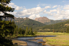 Lamer River Flows Through Valley Yellowstone National Park. The Lamar Valley holds a river of the same name in Yellowstone, Wyoming Stock Photography