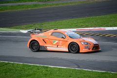 Lamera cup car nr.2 - 2014 Monza 8 Hours race. Lamera cup car nr.2 at the first chicane of the Grand Prix track of Monza, competing in the 8 hours endurance race stock photo