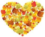Lames d'automne dans la trame de coeur Images libres de droits
