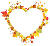 Lames d'automne dans la trame de coeur Photo stock