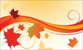 Lames d'automne soufflant dans le vent   Photos libres de droits