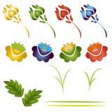 lames de fleurs réglées Photos libres de droits