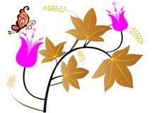 Lames et fleurs illustration de vecteur