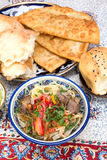Lamian - Central Asian noodles cooked with mutton and vegetables Royalty Free Stock Photo