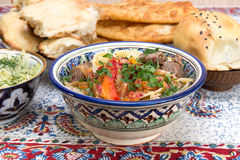 Lamian - Central Asian noodles cooked with mutton and vegetables Stock Photography