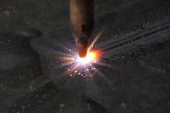 Lamiera sottile - ugello di taglio di gas Fotografie Stock