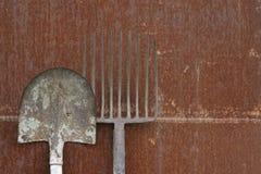 Lamierina e fieno-forcella Fotografia Stock