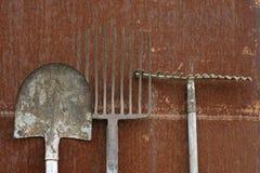Lamierina, fieno-forcella e rastrello Fotografie Stock Libere da Diritti