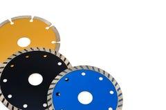 Lamierine circolari della smerigliatrice per le mattonelle isolate su briciolo Fotografia Stock