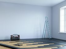 Laminat som installerar på rumgolvet royaltyfri illustrationer