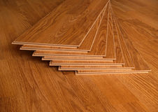 Laminate. Wood laminate floor planks Stock Photos