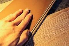 Laminate boards. Metering and laying of floor coverings. Repair the house with your own hands Stock Image