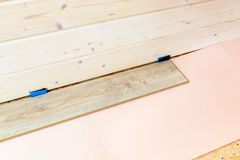 Laminate floor installation Stock Photography