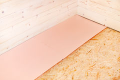 Laminate floor installation Stock Photo