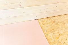Laminate floor installation Royalty Free Stock Photography