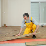 Laminate flooring of room. Adult male worker installing laminate floor,  floating wood tile Stock Photography
