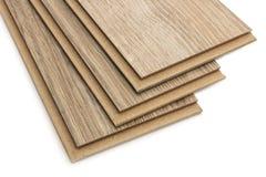 Laminate plates, imitating oak wood. On a white background stock photos