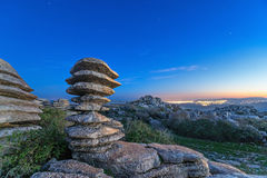 Laminate rock in El Torcal natural park. Laminate rock on sunset in El Torcal de Antequera natural park, Andalusia, Spain royalty free stock photos