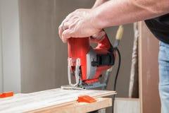 Laminate sawing Royalty Free Stock Photo