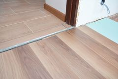 Laminate Wood Flooring - Laminate Flooring. Floor Installation, Stock Photos