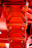 Laminated leaf spring. Heavy duty laminated leaf spring of vinatge giant mining truck Stock Photo