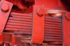 Laminated leaf spring. Heavy duty laminated leaf spring of vinatge giant mining truck Stock Image
