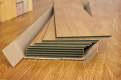 Laminated panels the color of the wood. Several of laminated panels the color of the wood royalty free stock image