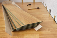Laminated panels the color of the wood. Several of laminated panels the color of the wood stock photos