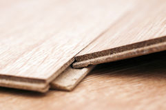 Laminated parquet. Detail of two boards of laminated floor stock images