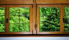 Laminated PVC windows in villagr house Stock Images