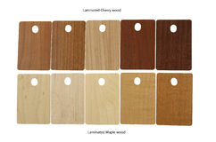 Laminated samples of Cherry wood and Maple wood Royalty Free Stock Photography
