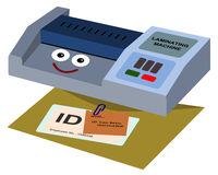 Laminating machine. A cartoon laminating machine who just finished laminating an identification card Stock Photos