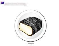 Lamington kakor, den nationella kakan av Australien vektor illustrationer
