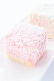 Lamington sponge cakes on white plate Royalty Free Stock Photo