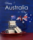 Lamingtons del día de Australia con el texto Imágenes de archivo libres de regalías