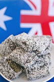 Lamingtons with australian  flag Stock Images