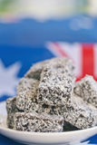 Lamingtons with flag Royalty Free Stock Image