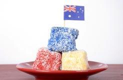 Lamingtons rojos, blancos y azules del día de Australia Imágenes de archivo libres de regalías