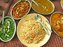 Lamm-Curry und Mais-Spinat Thali Lizenzfreies Stockbild