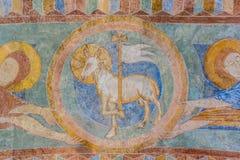 Lamm des Gottes, ein mittelalterliches Fresko Lizenzfreie Stockfotos