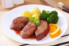 Lamm-Leber-Abendessen Stockfoto