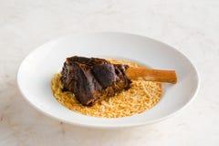 Lamm-Schaft mit Reis Stockfotografie