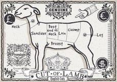 Lammfleischstück auf Weinlese-Seite Lizenzfreie Stockfotografie