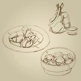 Lammkarree, Hühnerkebab, Mehlklöße mit Fleischsatz Stockfotos