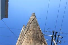 Lammpost avec un ciel bleu et froid Photographie stock libre de droits