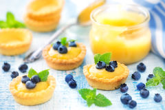 Lamon curd tarts with blueberries Stock Photography