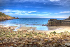 Lamorna beach and cove Cornwall England UK in HDR colours Stock Photography