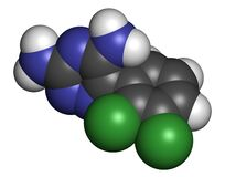 Lamotrigine seizures drug molecule. Used in treatment of epilepsy and bipolar disorder. Atoms are represented as spheres with