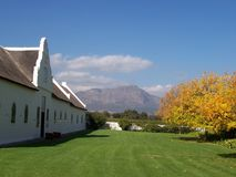 Lamotte vineyards Cape S.Afric. A beautiful homestead in a prime real estate location, overlooking the Franschoek mountains and wine estate of la motte in Cape Stock Image